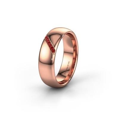 Trouwring WH0164L36B 375 rosé goud robijn ±6x2 mm