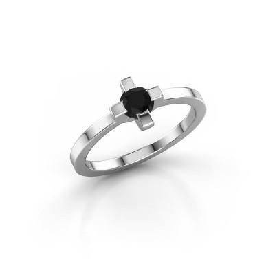 Ring Therese 585 witgoud zwarte diamant 0.36 crt