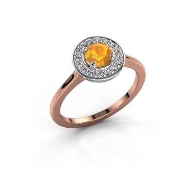 Ring Agaat 1 585 rosé goud citrien 5 mm