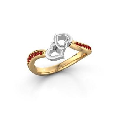 Ring Xaviera 585 goud robijn 1.5 mm