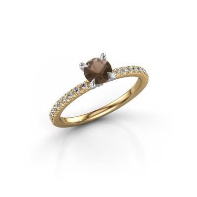Foto van Verlovingsring Crystal rnd 2 585 goud rookkwarts 5 mm