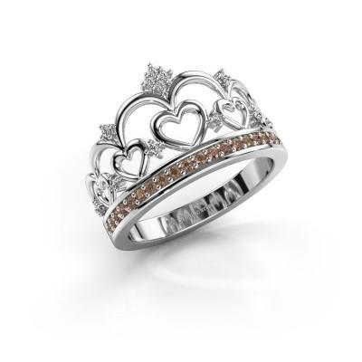 Ring Kroon 2 925 zilver bruine diamant 0.238 crt
