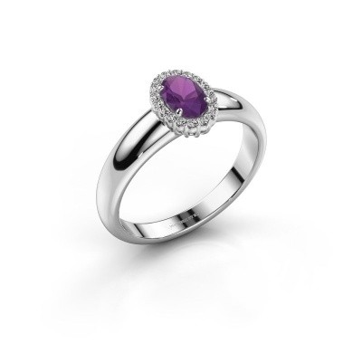 Engagement ring Tamie 925 silver amethyst 6x4 mm