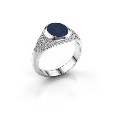 Signet ring Susana 375 white gold dark blue sardonyx 10x8 mm