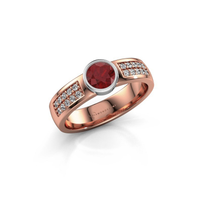Engagement ring Ise 3 585 rose gold ruby 4.7 mm