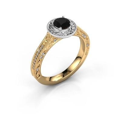 Foto van Verlovings ring Alice RND 585 goud zwarte diamant 0.70 crt