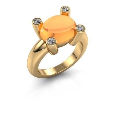 Foto van Ring Janice OVL 585 goud citrien 12x10 mm
