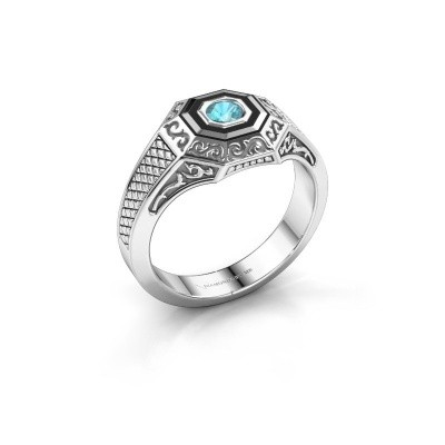 Picture of Men's ring Dion 375 white gold blue topaz 4 mm