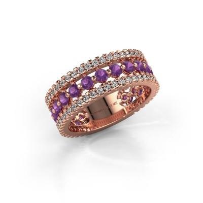 Engagement ring Elizbeth 2 375 rose gold amethyst 2.4 mm