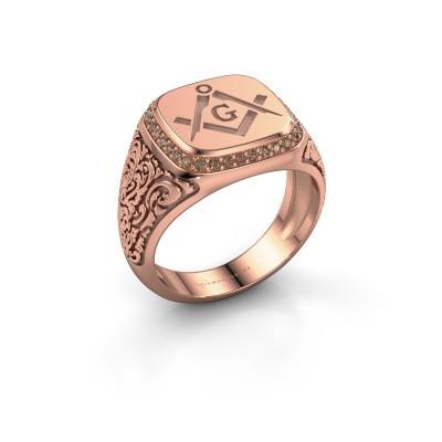Men's ring Hugo 375 rose gold brown diamond 0.255 crt
