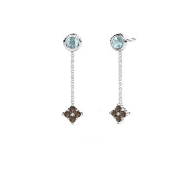 Picture of Drop earrings Ardith 950 platinum smokey quartz 2 mm