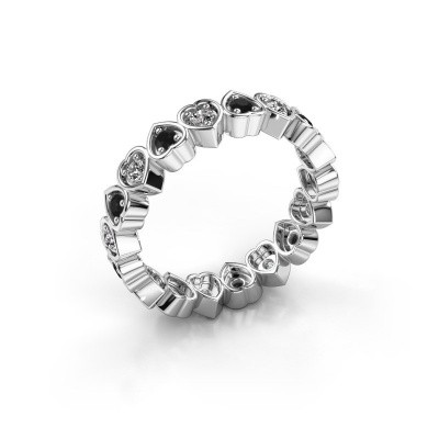 Stackable ring Pleun 375 white gold black diamond 0.594 crt