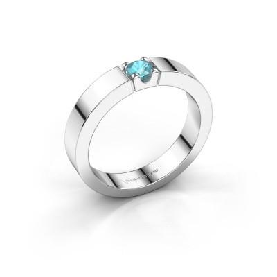 Foto van Belofte ring Dana 1 585 witgoud blauw topaas 3.7 mm