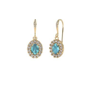 Picture of Drop earrings Jorinda 2 585 gold blue topaz 7x5 mm