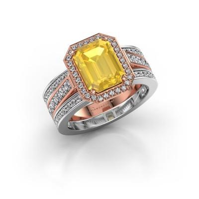 Foto van Ring Dodie 3 585 rosé goud gele saffier 9x7 mm