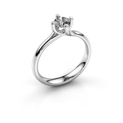 Bague de fiançailles Dewi Round 585 or blanc diamant 0.50 crt