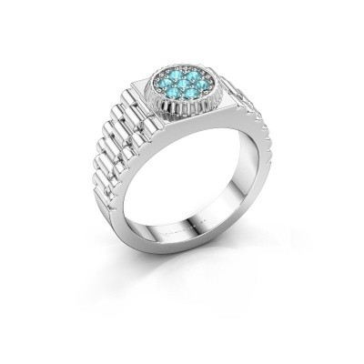 Picture of Men's ring Nout 585 white gold blue topaz 2 mm