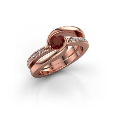 Foto van Ring Xenia 2 375 rosé goud granaat 5 mm