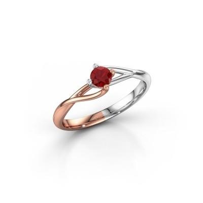 Foto van Verlovingsring Paulien 585 rosé goud robijn 3.7 mm