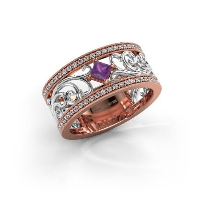 Ring Danae 585 rosé goud amethist 3 mm