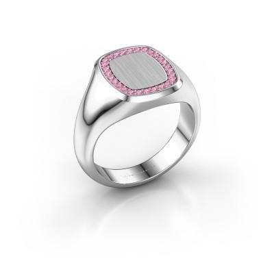 Heren ring Floris Cushion 2 925 zilver roze saffier 1.2 mm