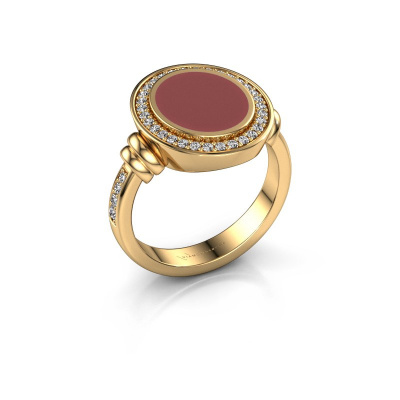 Zegelring Servie 2 585 goud rode emaille 12x10 mm