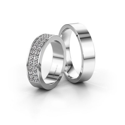 Foto van Trouwringen set WHR0288LM15AP ±5x2.3 mm 14 karaat witgoud diamant 0.02 crt