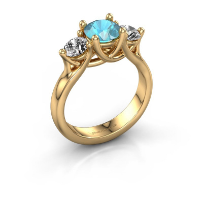 Engagement ring Esila 585 gold blue topaz 6.5 mm