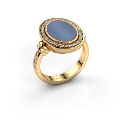 Foto van Heren ring Servie 3 585 goud licht blauwe lagensteen 14x10 mm