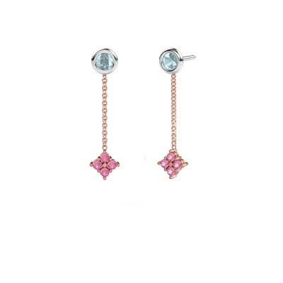 Drop earrings Ardith 585 rose gold pink sapphire 2 mm