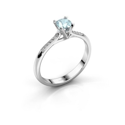 Picture of Engagement ring Isa 2 585 white gold aquamarine 4.2 mm