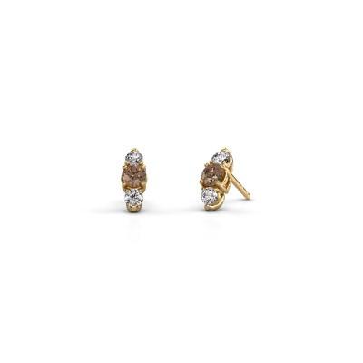 Foto van Oorbellen Amie 375 goud bruine diamant 0.90 crt
