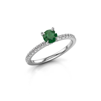 Picture of Engagement ring Crystal rnd 2 950 platinum emerald 5 mm