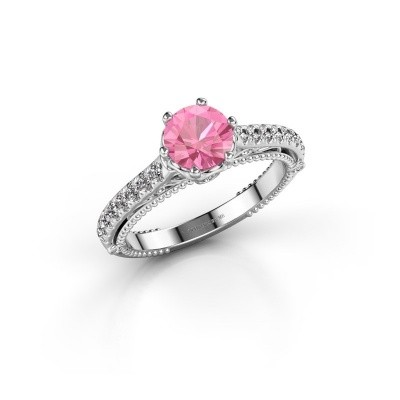Verlovingsring Venita 950 platina roze saffier 6.5 mm