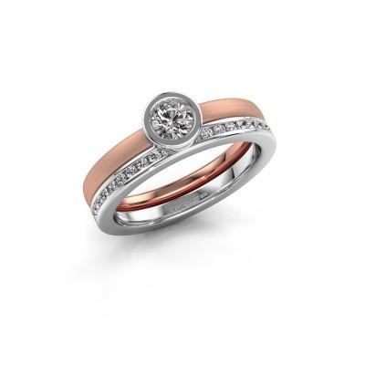 Foto van Ring Cara 585 rosé goud zirkonia 4 mm