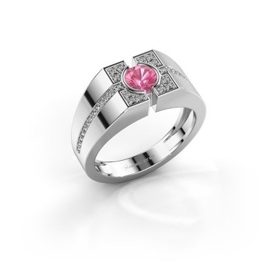 Picture of Men's ring Thijmen 375 white gold pink sapphire 5 mm