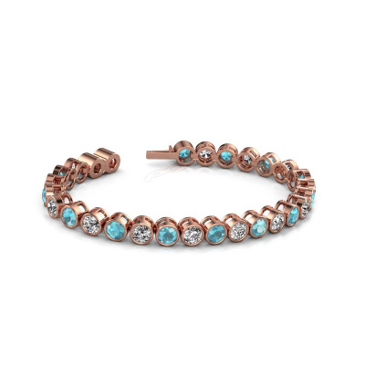 Tennis bracelet Allegra 5 mm 375 rose gold blue topaz 5 mm