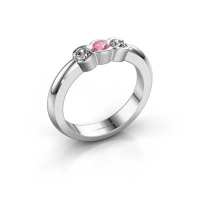 Foto van Verlovingsring Lotte 3 585 witgoud roze saffier 3 mm