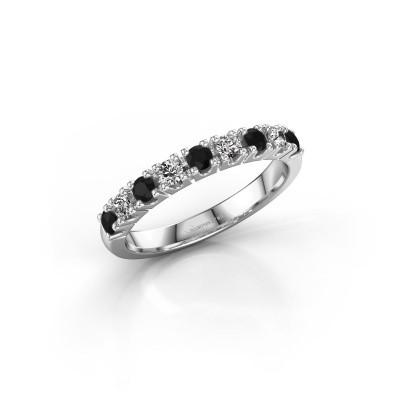 Foto van Aanzoeksring Rianne 9 585 witgoud zwarte diamant 0.55 crt