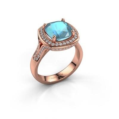 Ring Lili 375 rosé goud blauw topaas 9 mm