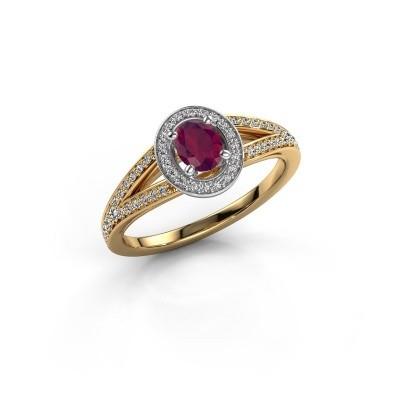 Verlovings ring Angelita OVL 585 goud rhodoliet 6x4 mm
