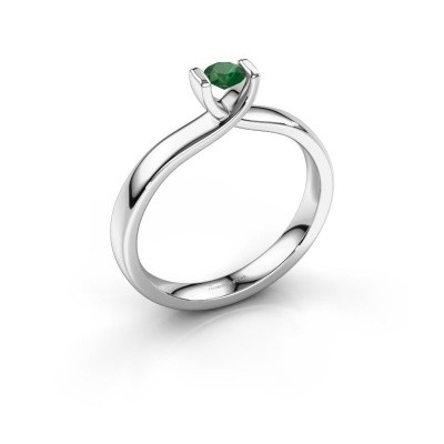 Foto van Verlovingsring Noor 585 witgoud smaragd 3.7 mm