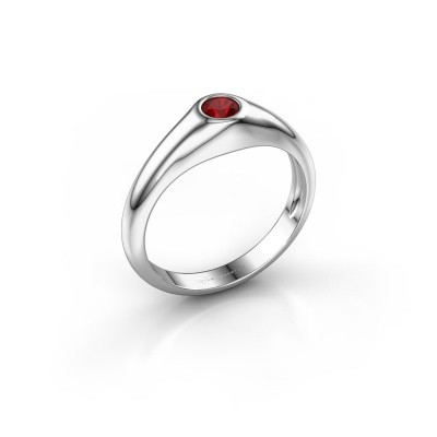 Photo de Bague pinky Thorben 925 argent rubis 4 mm