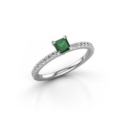 Foto van Verlovingsring Crystal ASS 2 585 witgoud smaragd 4.5 mm
