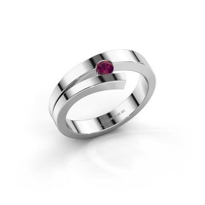 Ring Rosario 585 witgoud rhodoliet 3 mm