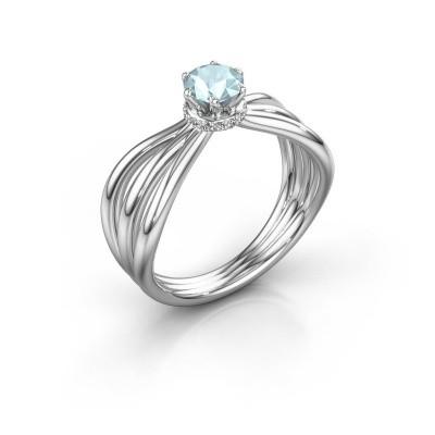 Engagement ring Kimi 585 white gold aquamarine 5 mm