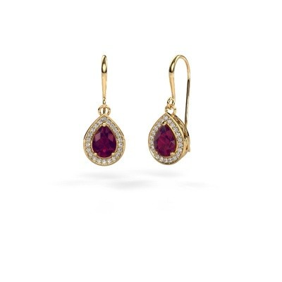 Picture of Drop earrings Beverlee 1 750 gold rhodolite 7x5 mm