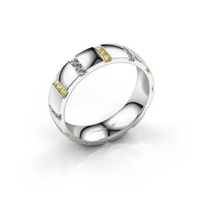 Huwelijksring Juul 950 platina gele saffier ±5x1.8 mm