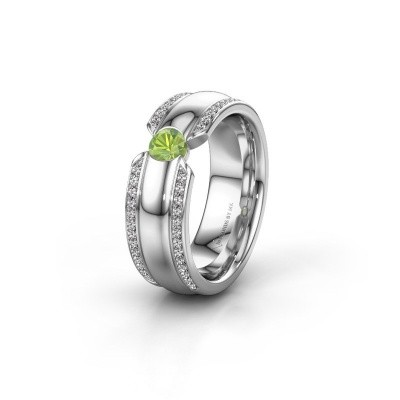 Wedding ring WHR0575L 585 white gold peridot ±0.28x0.08 in