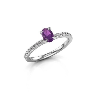 Picture of Engagement ring Crystal OVL 2 925 silver amethyst 6x4 mm